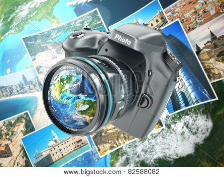 Digital photo camera on background from earth and photographs. 3d Elements of this image furnished by NASA
