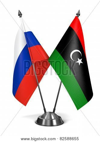 Russia and Libya - Miniature Flags.