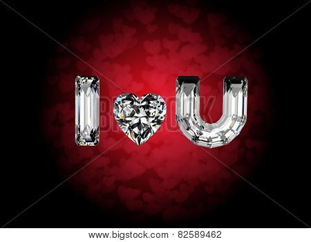 I love you. Heart shape gemstone. Collections of jewelry gems