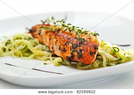 Salmon Steak with Zucchini Noodles