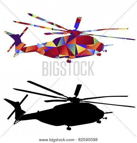 An image of a military helicopter - polygon style.