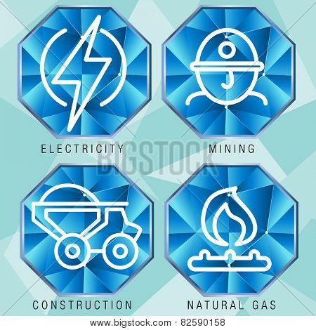 An image of an energy sector icon set - polygon style.