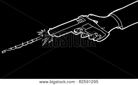 Gun Over Black Background