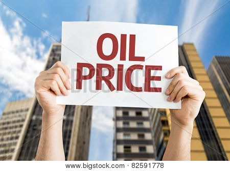 Oil Price card with urban background