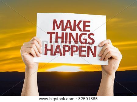 Make Things Happen card with sunset background