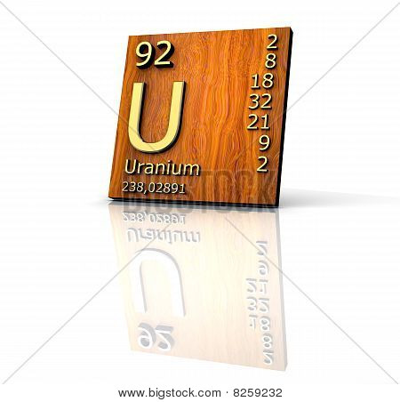 Uranium Form Periodic Table Of Elements - Wood Board