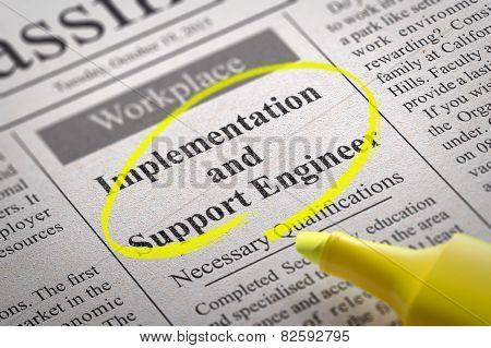 Implementation and Support Engineer Vacancy in Newspaper.