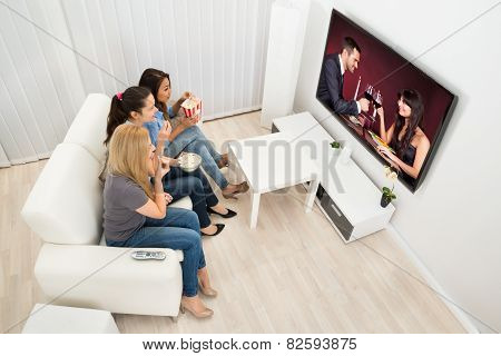 Three Young Women Watching Movie
