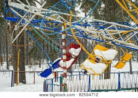 The Old Carousel In The Winter Forest.