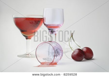 Still-life With Wineglasses And Cherries