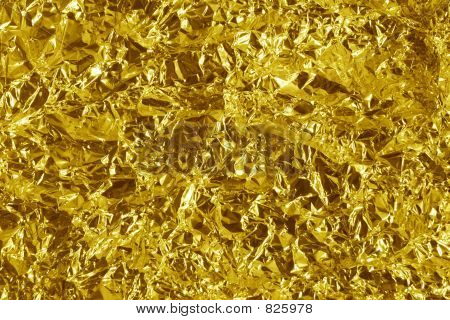 Crumpled gold metal