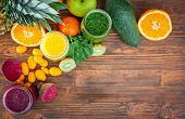picture of smoothies  - Blended greenyellow and purple smoothie with ingredients selective focus - JPG