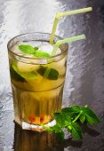 picture of flavor  - iced green tea flavored with mint and iced cubes - JPG