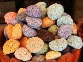 stock photo of pumice stone  - colored pumice stones in oriental open air bazaar - JPG