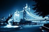 image of dolphin  - Tower Bridge and statue of a girl playing with dolphin in St Katharine docks in London - JPG