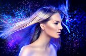 picture of blowing  - Fashion Model Girl Portrait with Long Blowing Blond Hair - JPG