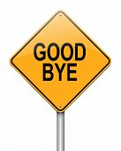 image of goodbye  - Illustration depicting a sign with a goodbye concept - JPG