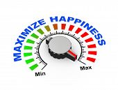 picture of maxim  - 3d illustration of knob set at maximum for maximize happiness - JPG