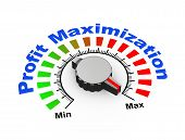 picture of profit  - 3d illustration of knob set at maximum for boost your profit and revenue - JPG