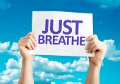 stock photo of breath taking  - Just Breathe card with sky background - JPG