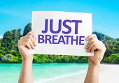picture of breath taking  - Just Breathe card with beach background - JPG