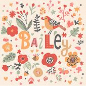 image of bailey  - Bright card with beautiful name Bailey in poppy flowers - JPG
