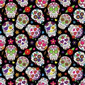image of day dead skull  - Day of the Dead Sugar Skull Seamless Vector Background - JPG