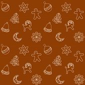 stock photo of ginger bread  - Christmas Ginger Bread Cookies Seamless Pattern Vector Illustration for Your Projects - JPG