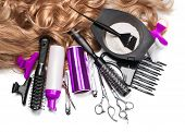 stock photo of hair cutting  - hairdresser Accessories for coloring hair on a white background - JPG