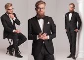 picture of long beard  - 3 poses of an elegant man with long beard in tuxedo suit and bow tie - JPG