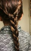 stock photo of braids  - Braids done on the side of head and then made into a full braid down the back - JPG