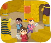 stock photo of stickman  - Illustration of Stickman Kids Exploring the Interior of a Pyramid - JPG
