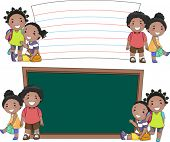 stock photo of stickman  - Stickman Illustration of African Kids Standing Beside Blank Boards - JPG