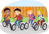 pic of stickman  - Illustration of Stickman Kids Riding on Their Bikes - JPG