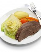 stock photo of guinness  - corned beef and cabbage isolated on white background - JPG