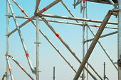 picture of scaffolding  - Part of the construction scaffold with blue background - JPG