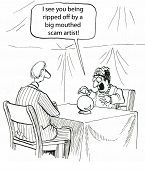 image of fortune-teller  - Cartoon of fortune teller with crystal ball saying to businessman - JPG