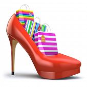 image of shoes colorful  - Shopping bags in women high heel shoes - JPG