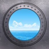 stock photo of emo  - 3D render of a port hole looking out onto the ocean - JPG