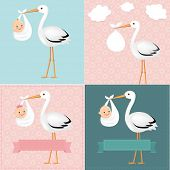 picture of baby delivery  - Stork With Baby Set With Gradient Mesh - JPG