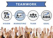 picture of team  - Team Vision Marketing Goal Corporate Teamwork Concept - JPG