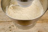 image of food preparation tools equipment  - Kneading dough with a domestic food processor - JPG