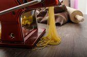 picture of carbonara  - Homemade spaghetti carbonara with semolina  - JPG
