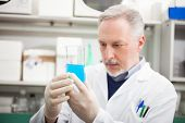 image of pharmaceutical company  - Scientist holding a test tube in his laboratory - JPG