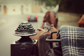stock photo of carriage horse  - Ride in the fiaker - JPG