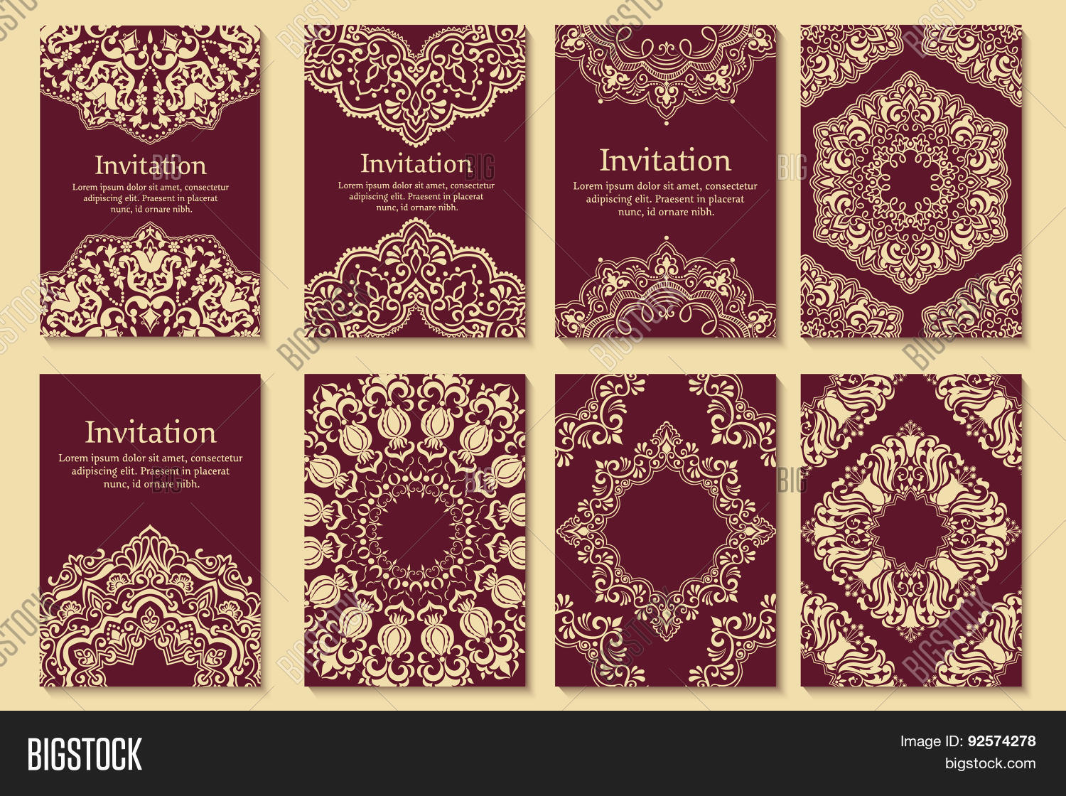 Set invitations cards ethnic vector photo bigstock for Arabesque style decoration