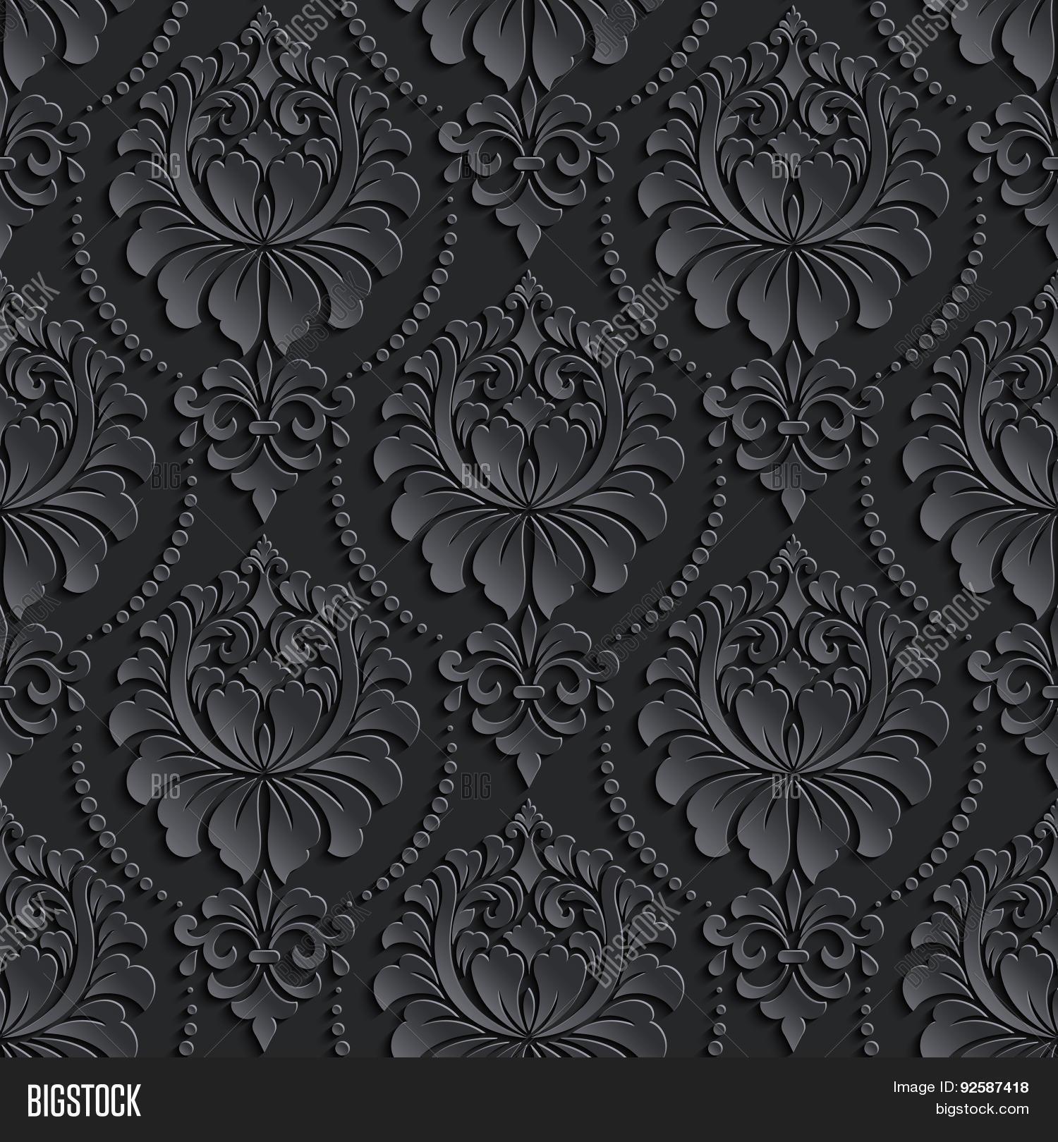 Elegant Background Pattern Black And White Vector damask seamless...