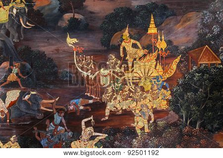 Mural Paintings at Wat Phrakaew in Bangkok, Thailand