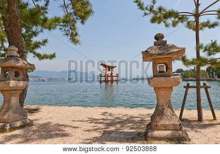 Floating Torii Gate Of Itsukushima Shrine, Japan. Unesco Site