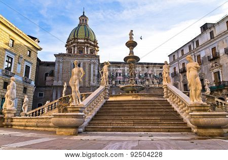 Baroque fountain on piazza Pretoria in Palermo, Sicily